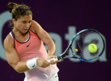 Sara Errani of Italy    retune the ball during the women's singles second day match against  Tsvetana Pironkova of Bulgaria ahead of WTA Qatar total Open 2016 at the International Khalifa Tennis Complex Doha,Qatar February. 22, 2016. Sara Errani  won  2-1. (Xinhua/Nikku)